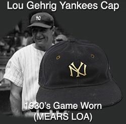 bc34f3fa714 1930s New York Yankees Cap W  Lou Gehrig Game Worn Original Head Liner ( MEARS