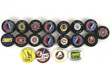 1970S - 1990s Hockey Puck Collection With 15 Autographed Pucks (Lot of 40+) (JSA)
