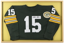 "1956-1971 Bart Starr Green Bay Packers Signed Decorative 25""x 37"" Framed Jersey"
