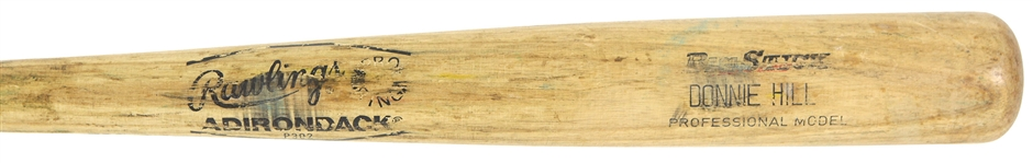 1986 Donnie Hill/Rob Nelson Oakland Athletics Rawlings Adirondack Professional Model Game Used Bat (MEARS LOA)