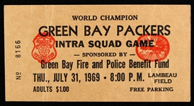 1969 Green Bay Packers Intra Squad Game Ticket Stub