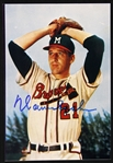 "1942-1964 Warren Spahn Milwaukee Braves Signed 4"" x 6"" Color Photo (JSA)"