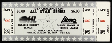 1987 Challenge Cup All Star Series Ontario vs Quebec Ticket Stub