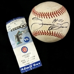 1999 (May 17) Sammy Sosa Chicago Cubs Singed ONL Coleman Pro Player Stadium Game Used Baseball w/ Ticket Stub (MEARS LOA/JSA)