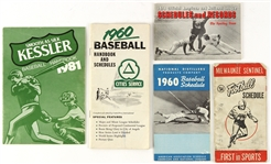 1950s-1980s Football and Baseball Schedules and Handbooks (Lot of 5)
