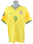 2008 Adriano Brazil National Soccer Team World Cup Qualifier Jersey (MEARS LOA)