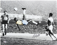"2000s Pele Brazil Soccer Signed 16"" x 20"" Bicycle Kick Photo (PSA/DNA)"