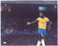 "2010s Pele Brazil Soccer Signed 16"" x 20"" Photo (PSA/DNA)"