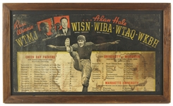 "1936 Green Bay Packers World Championship Season Russ Winnie & Alan Hale 14""x 24"" Framed Radio Advertisement Broadside Sign W/ Green Bay Packers University of WI Schedules"