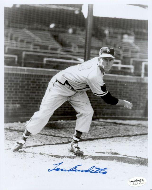 1952 Boston Braves Lou Burdette Autographed 8x10 B W Photos JSA