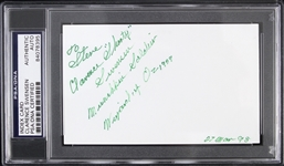 "1998 Clarence Swensen Wizard of Oz Signed 3""x 5"" Index Card (PSA/DNA Slabbed)"