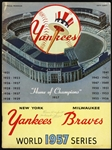 1957 New York Yankees vs Milwaukee Braves World Series Official Program