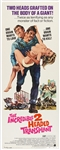 "1971 The Incredible 2 Headed Transplant 14""x 36"" Movie Poster"
