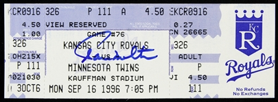 1996 Paul Molitor Minnesota Twins Signed Ticket (JSA)