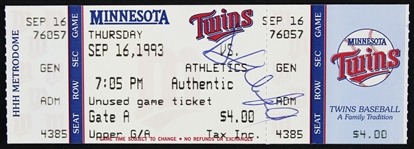 1993 Dave Winfield Minnesota Twins Signed Ticket (JSA)