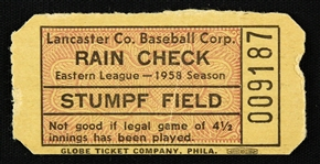 1958 Stumpf Field Lancaster Co. Baseball Corp Ticket Stub