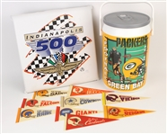 1970s-1990s Football Mini Pennants, Green Bay Packers Cooler, & Indy 500 Seat Cushion