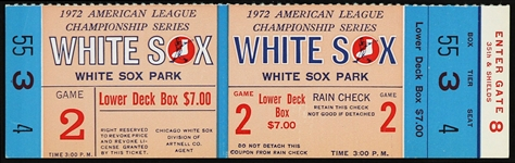 1972 American League Championship Chicago White Sox Ticket