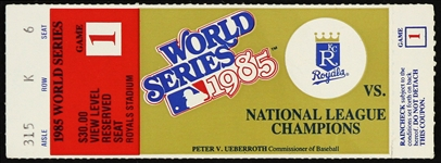 1985 Kansas City Royals vs National League Champions World Series Ticket