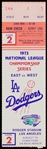 1973 L.A. Dodgers National League Championship Series East vs. West Ticket Stub