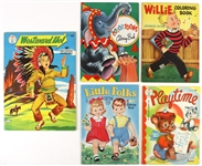 1950s Coloring Books Including Willie, Little Folks, Westward Ho! and more (Lot of 5)