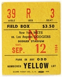 1964 New York Mets vs Los Angeles Dodgers Ticket Stub