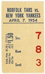 1954 Norfolk Tars vs New York Yankees Ticket Stub