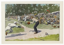 1870s-1880s Antique Harpers Hand-Tinted Baseball and Football Lithographs (Lot of 3)