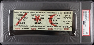 1969 Woodstock Music and Art Fair Three Day Ticket