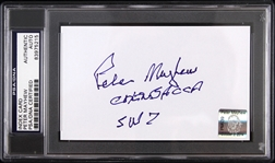 "1977-1983 Peter Mayhew Chewbacca Signed 3""x 5"" Index Card (PSA/DNA Slabbed)"