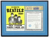 "1966 Beatles Shea Stadium 12""x 16"" Framed Original Onsite Ticket, Flyer, and Sid Bernstein Certificate of Authenticity"