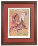"1983 Evel Knievel ""THE Red Rooster"" Signed 19""x 23"" Framed Lithograph (JSA)"