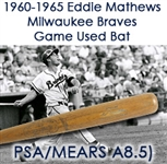 1960-65 Eddie Mathews Milwaukee Braves H&B Louisville Slugger Professional Model Game Used Bat (MEARS A8.5 & PSA/DNA GU 8.5)