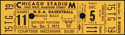1972 Chicago Bulls vs Detroit Pistons Game 11 Ticket