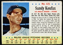 1963 Sandy Koufax Los Angeles Dodgers Post Trading Card