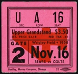 1958 Chicago Bears vs Baltimore Colts Ticket Stub
