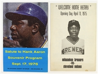 1975-1976 Hank Aaron Milwaukee Brewers Souvenir Program and Song