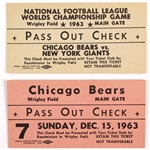 1963 Chicago Bears NFL Championship Game Pass Out Check Tickets