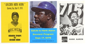 1975-1976 Hank Aaron Milwaukee Brewers Souvenir Program and Flyer