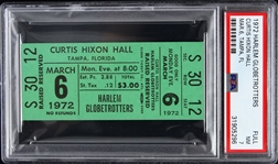 1972 Harlem Globetrotters Curtis Nixon Hall Full Ticket (PSA/DNA Slabbed)