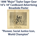 "1898 ""Major"" Taylor Sager Gear 16""x 18"" Cardboard Advertising Broadside Poster ""The Jackie Robinson of All Professional Sports"""