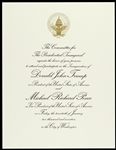 "2017 President Donald Trump & Vice President Michael Pence 8""x 10"" Officially Embossed Inaugural Invitation"