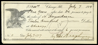 1914 Federal League Payment Voucher Signed by Chi-Feds Team-Owner Charles Weeghman (PSA/DNA)