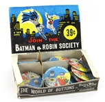 "1966 Join The Batman & Robin Society 3 3/8"" Pinback Buttons (33) w/ Original Illustrated Counter Display Box"