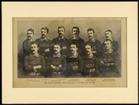 "1885-1886 National League Champion Chicago White Stockings 9""x 12"" Harper's Weekly Woodcut Team Illustration Featuring  Cap Anson & King Kelly"
