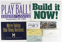 1970s-90s Milwaukee Brewers Memorabilia Collection - Lot of 168 w/ Bud Selig Signed Checks, Signage & More