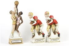 1974 Lionstone Whiskey Sculptured Porcelain Football and Basketball Decanters (Lot of 3)