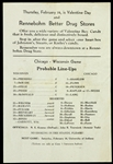 1940s Rennebohm Drug Stores Wisconsin vs Chicago Probable Line-Ups Handbill