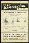 1933 Rennebohm Drug Stores Wisconsin vs Chicago Starting Line-Ups Handbill