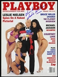 "1996 Leslie Nielsen ""The Naked Gun"" Signed Playboy Magazine (JSA)"